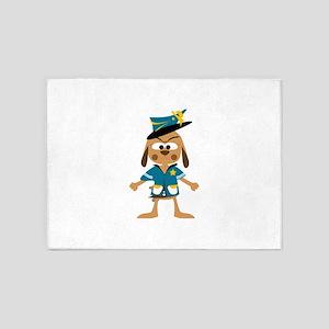 Cartoon Police Dog 5'x7'Area Rug