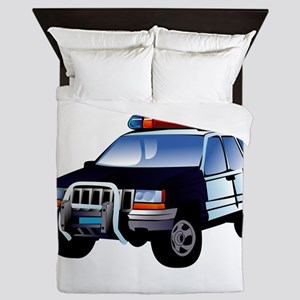 Police Car Queen Duvet