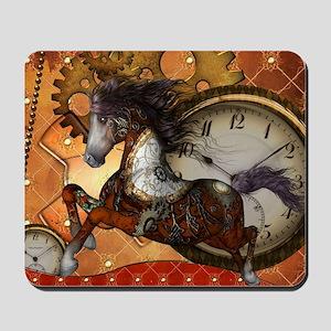 Steampunk, wonderful wild red steampunk horse Mous