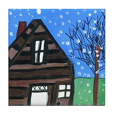 Snowing Night Tile Coaster