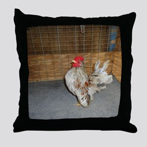 Small serama rooster Throw Pillow