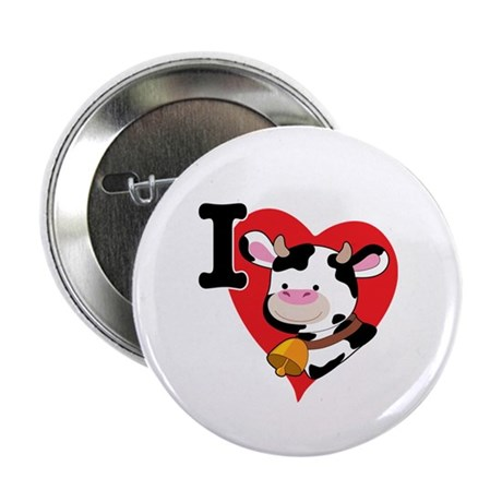 """I Love Cows 2.25"""" Button (100 pack)"""
