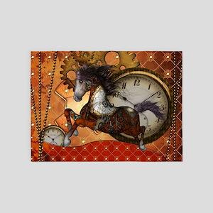 Steampunk, wonderful wild red steampunk horse 5'x7