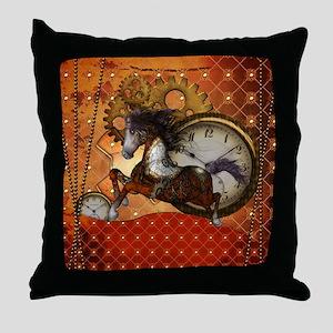 Steampunk, wonderful wild red steampunk horse Thro