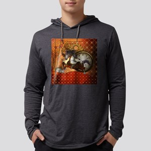 Steampunk, wonderful wild red steampunk horse Long