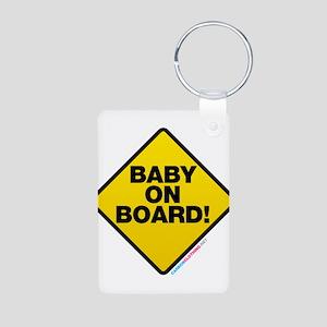 Baby On Board Aluminum Photo Keychain