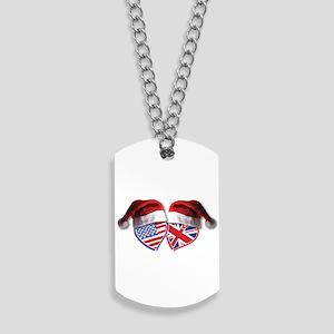 Christmas UK USA Patriotic Hearts Dog Tags