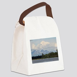 Denali, forest, river, mountains, Canvas Lunch Bag