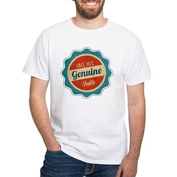 Retro Genuine Quality Since 1975 Label White T-Shi