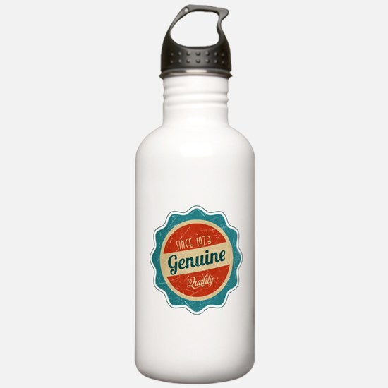 Retro Genuine Quality Since 1973 Label Water Bottle