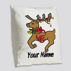 Christmas Reindeer - Personalized Burlap Throw Pil