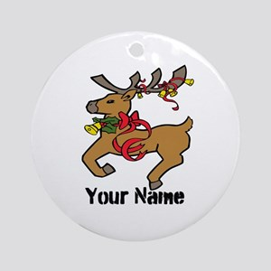 Christmas Reindeer - Personalized Ornament (Round)