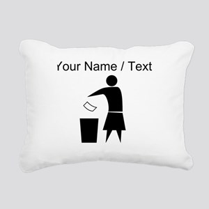 Custom Woman Trash Icon Rectangular Canvas Pillow