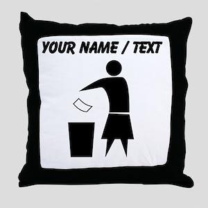Custom Woman Trash Icon Throw Pillow