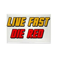 Live Fast Die Red Rectangle Magnet (100 pack)