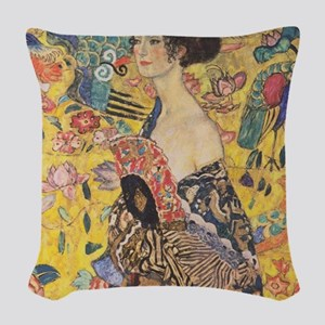 Klimt Lady with Fan Woven Throw Pillow