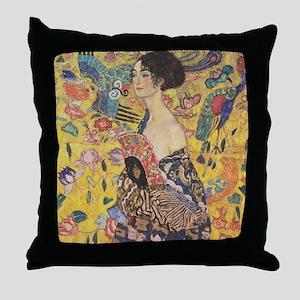 Klimt Lady with Fan Throw Pillow