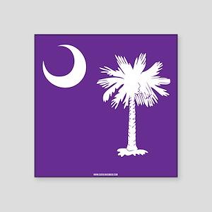 SC Palmetto Moon State Flag Purple Square Sticker