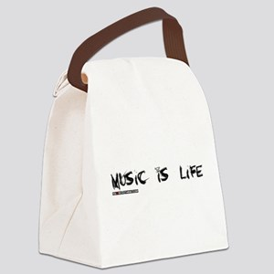 Music Is My Life Skull Canvas Lunch Bag