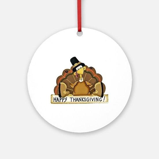 Happy Thanksgiving Turkey Round Ornament