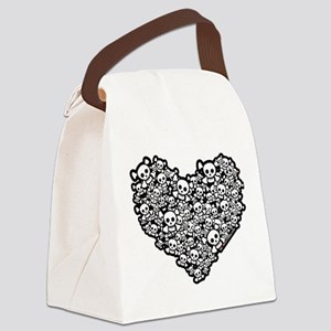 Emo Skull Hearts Canvas Lunch Bag