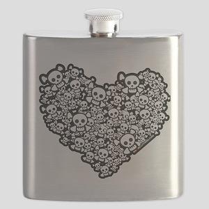 Emo Skull Hearts Flask
