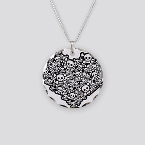 Emo Skull Hearts Necklace Circle Charm
