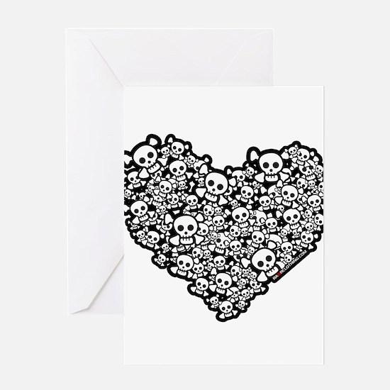 Emo Skull Hearts Greeting Card