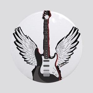Winged Guitar Ornament (Round)