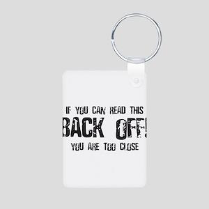 Back off! Aluminum Photo Keychain