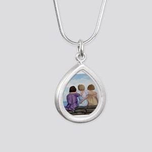 Sisters Silver Teardrop Necklace