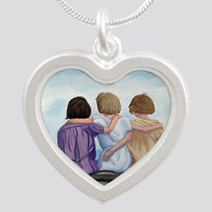Sisters Silver Heart Necklace
