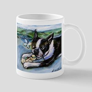 Boston Terrier butterfly Mugs