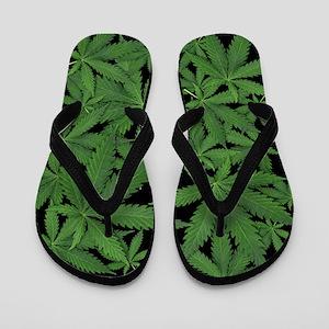 Marijuana Pot Leaves on Black Flip Flops