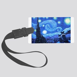 Starry Night Border Collies Large Luggage Tag