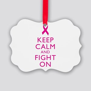 Keep Calm And Fight On Breast Cancer Support Pictu