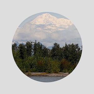 "Denali, forest, river, mountains, Alas 3.5"" Button"