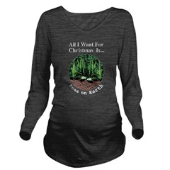 Xmas Peas on Earth Long Sleeve Maternity T-Shirt