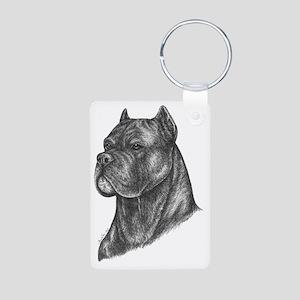 Dog on White Aluminum Photo Keychain