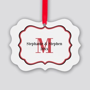 Red Black White Monogram Picture Ornament