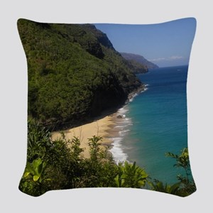 Na Pali Coast Line Woven Throw Pillow