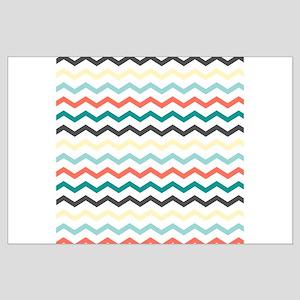 Aqua, Blue, and Salmon Chevron Pattern Posters