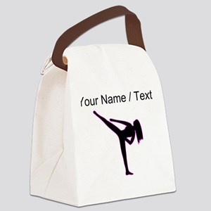 Custom Pink Karate Silhouette Canvas Lunch Bag