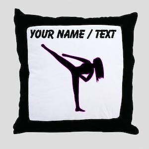 Custom Pink Karate Silhouette Throw Pillow