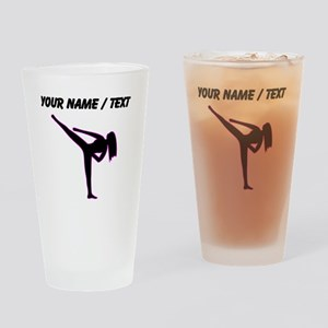 Custom Pink Karate Silhouette Drinking Glass