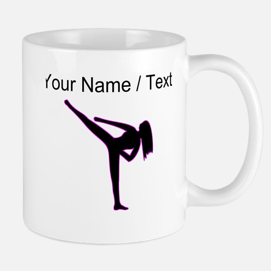 Custom Pink Karate Silhouette Mugs