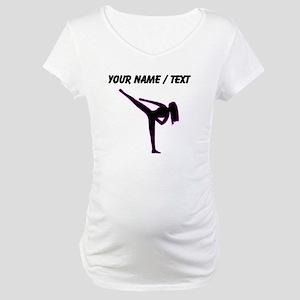Custom Pink Karate Silhouette Maternity T-Shirt