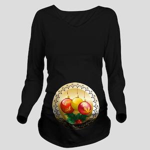 Xmas Balls Long Sleeve Maternity T-Shirt