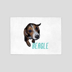 Beagle Puppy Sitting Down (Blue) 5'x7'Area Rug