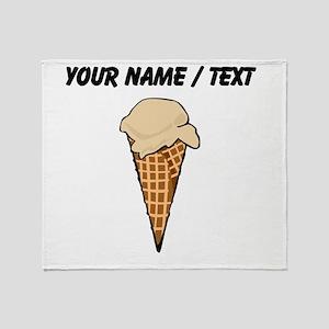 Custom One Scoop Ice Cream Cone Throw Blanket